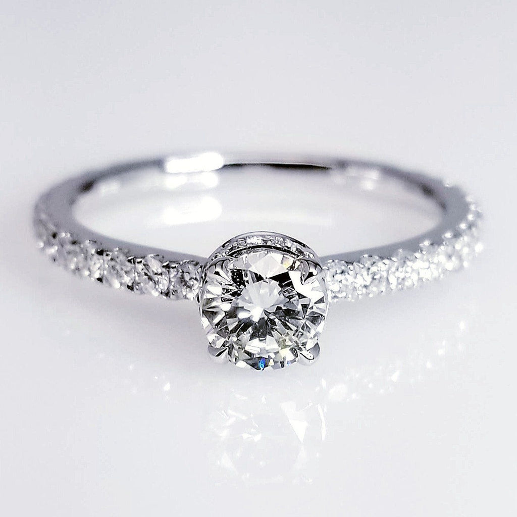 Diamond Engagement Ring With Pave Secret Diamonds