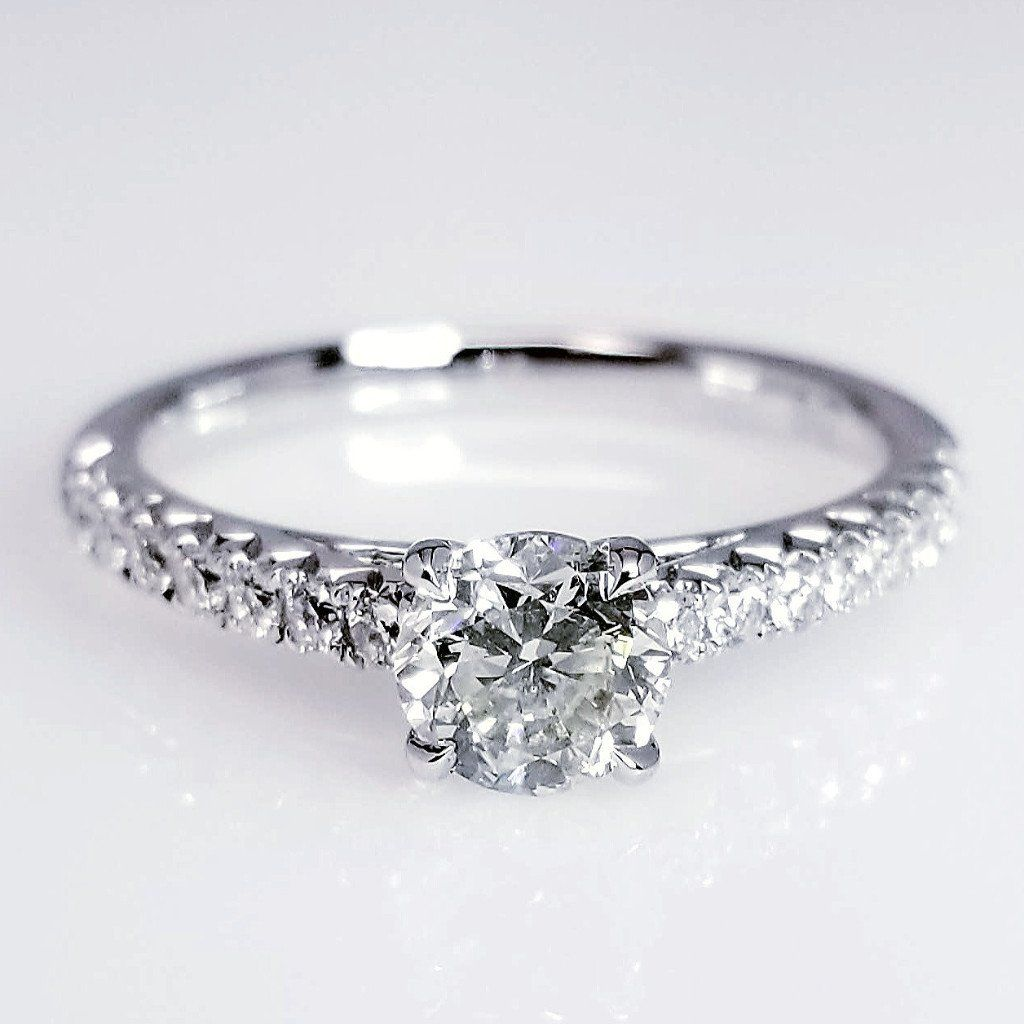 Diamond Pave Engagement Ring 18K White Gold