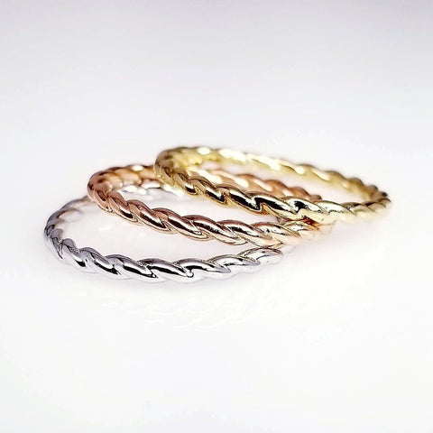 Twist Gold Ring, Braid Motif Stacking Ring, Women's Unique Band Eternity in Gold