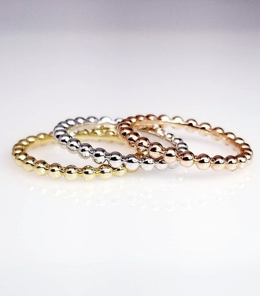 Delicate Balls Beaded Ring, Beaded Stacking Ring, Solid Gold Women's Unique Beaded Band Eternity