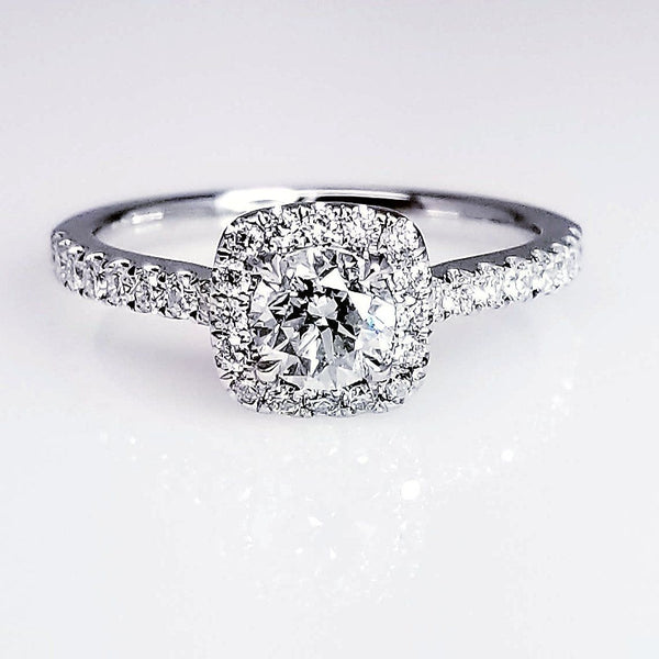 Round Brilliant Diamond Set In Halo Engagement Ring