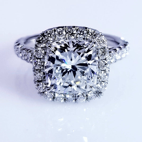 Platinum Cushion Cut Engagement Ring