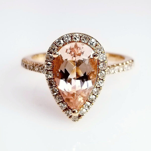 Pear Shape Morganite Gemstone Ladies Ring
