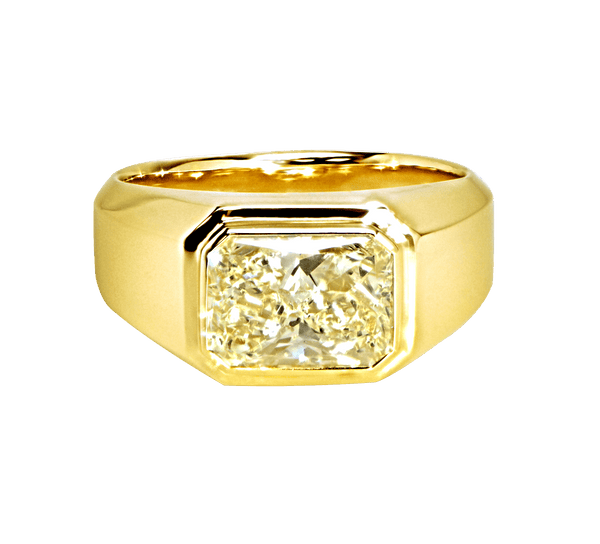 Radiant Shaped Yellow Diamond Bezel Set Mens Ring