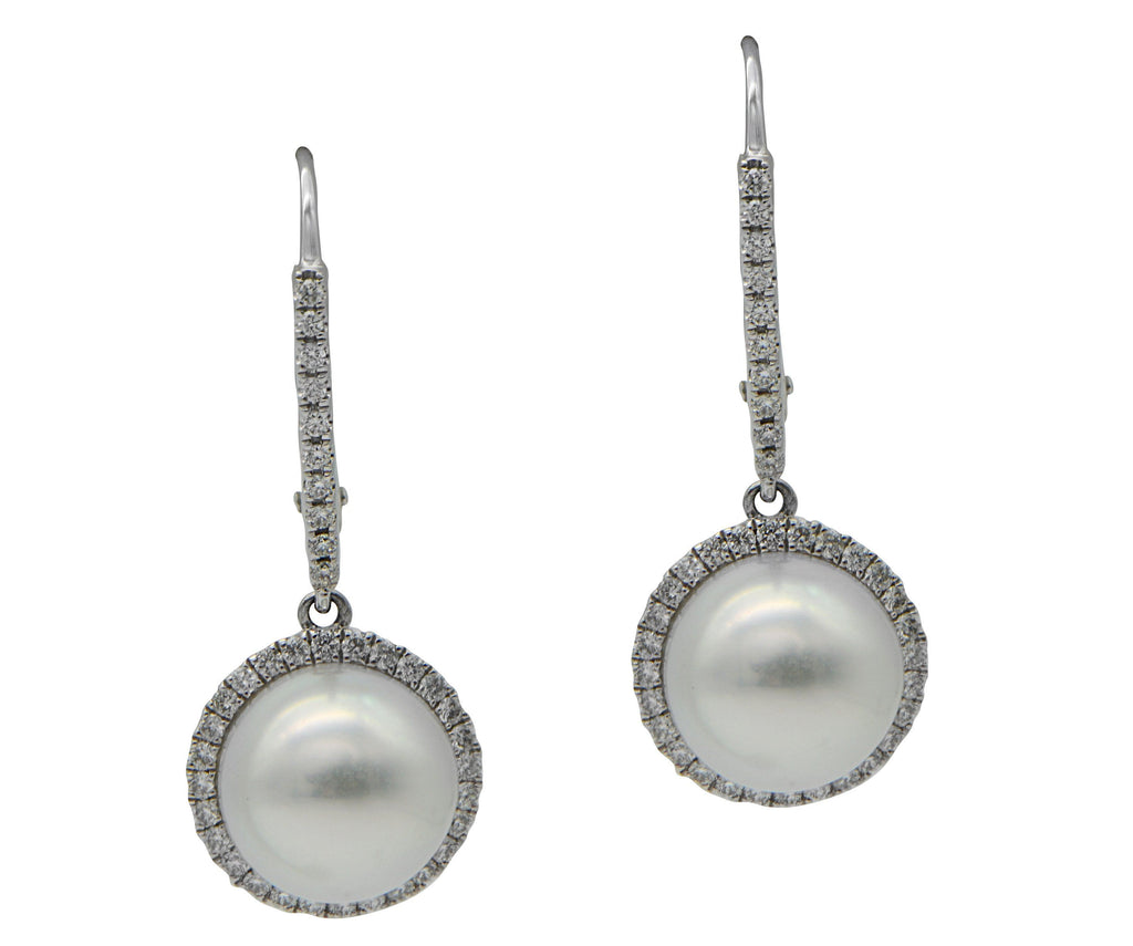 South Sea Pearl Diamond Halo Drop Earrings