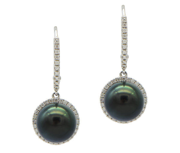 Black Tahitian Pearl Drop With Diamond Halo Earrings