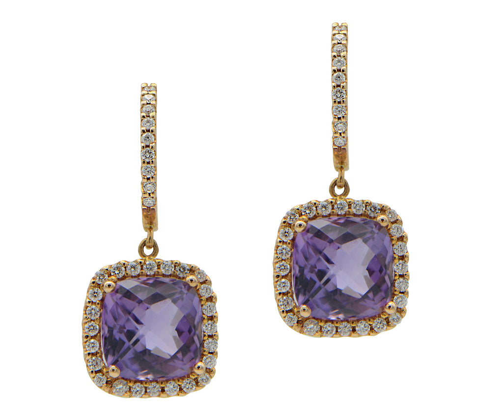 Amethyst with Diamond Halo in Rose Gold Drop Earrings