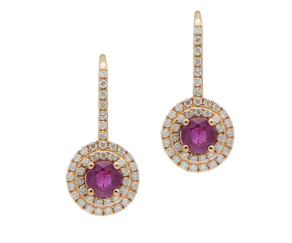 Double Halo Ruby Drop Earrings in Rose Gold