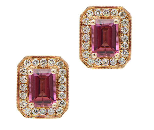 Pink Tourmaline with Diamond Halo in Rose Gold Studs