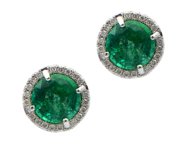 Round Green Emerald with Diamond Pave Halo Stud Earrings