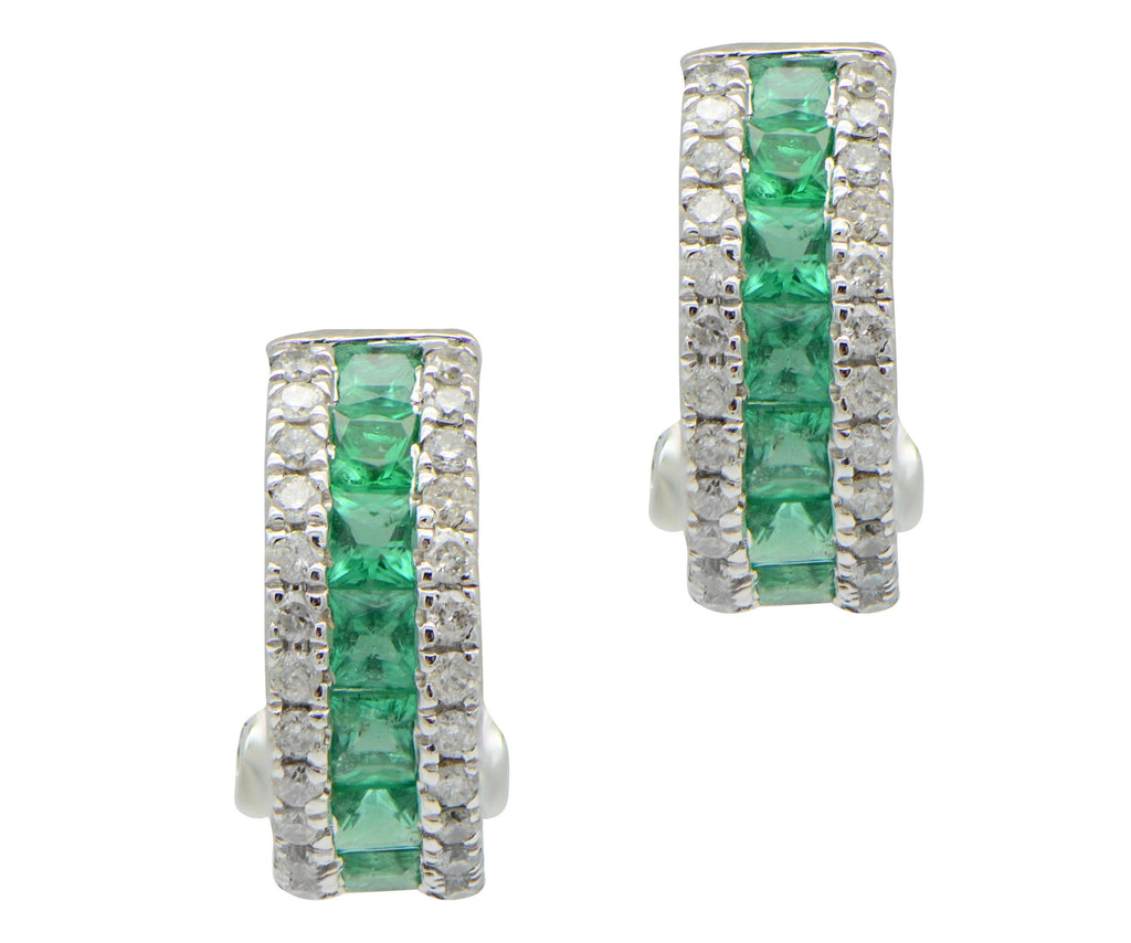 Channel Set Emerald and Diamond Pave Huggie Hoop Earrings