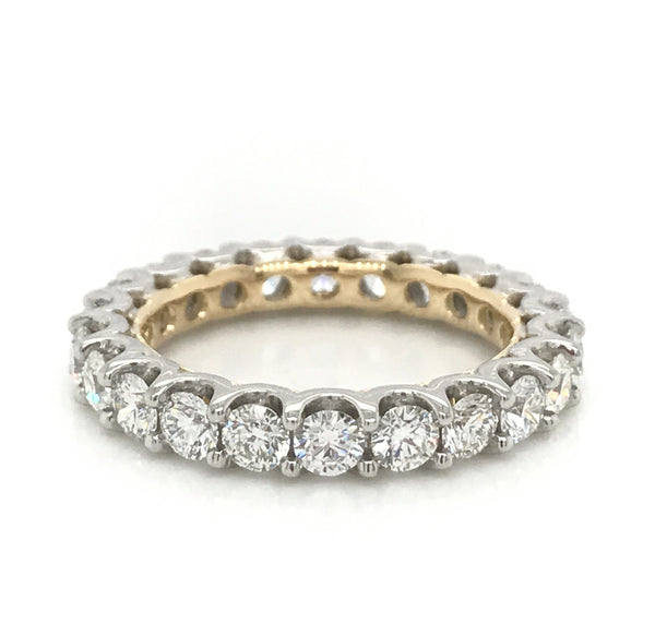 Platinum and Yellow Gold Two Tone Handmade Diamond Pavé Eternity Wedding Ring