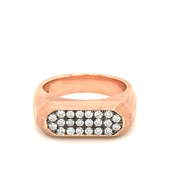 Matte Finish Rose Gold Ring with Diamond Pave and Black Rhodium