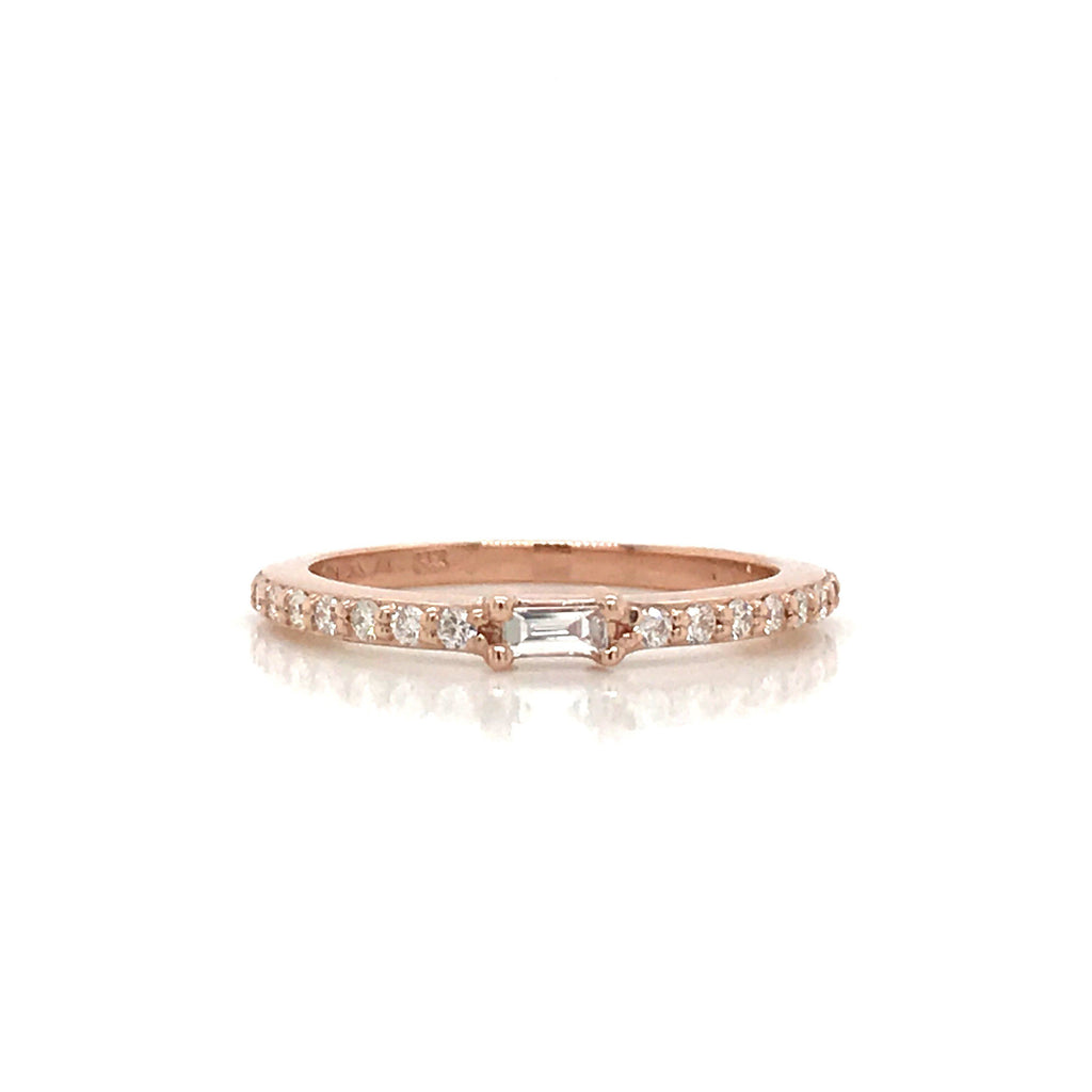 Petite Diamond Baguette and Pave Band - 14K Yellow Gold, White Gold, or Rose Gold - SEA Wave Diamonds