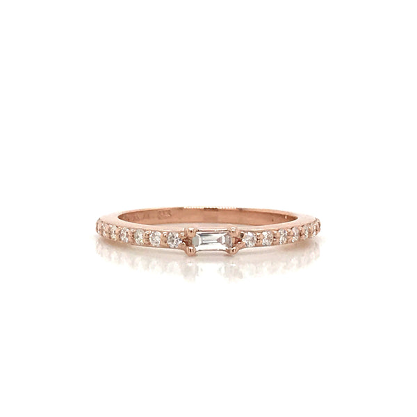 Petite Diamond Baguette and Pave Band - 14K Yellow Gold, White Gold, or Rose Gold
