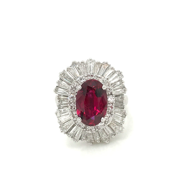 LADRG01789 Ruby and Diamond Halo Ring in Platinum - SEA Wave Diamonds