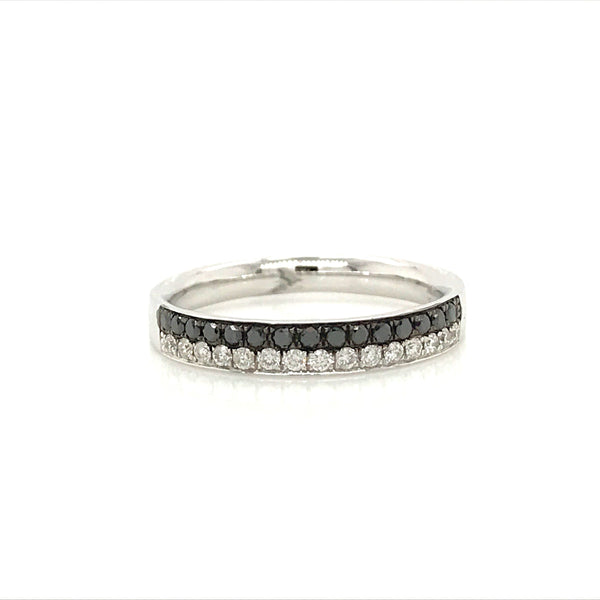 DBAND01773 Black and White Diamond Band in 18K White Gold - SEA Wave Diamonds
