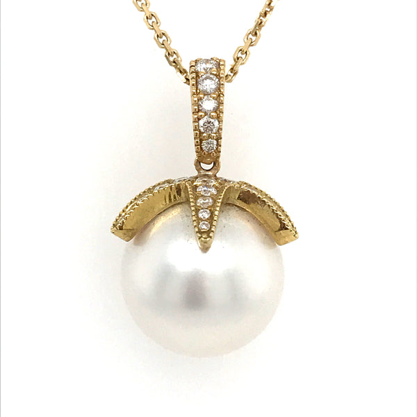 PEND01457 18K Yellow Gold Pearl Necklace With Diamond - SEA Wave Diamonds