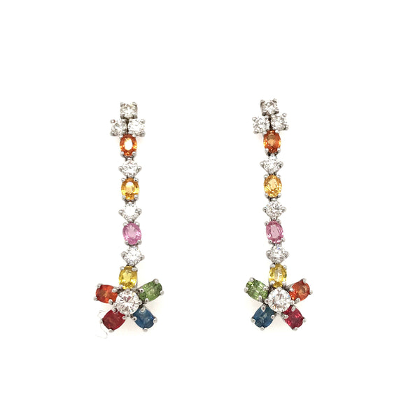 EARR01568 Rainbow Sapphire Flower Drop Earrings in 14K White Gold - SEA Wave Diamonds