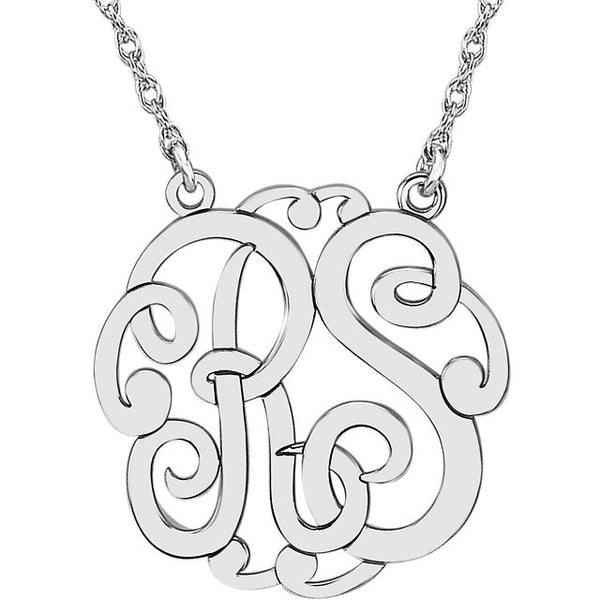 2-Letter Script Monogram Necklace - SEA Wave Diamonds