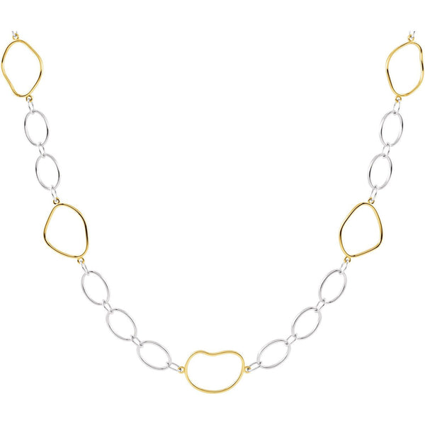 2 Tone Open Silhouette Necklace - SEA Wave Diamonds