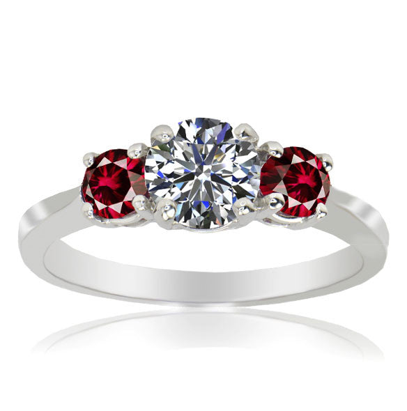 Three Stone Ruby Red Engagement Diamond Ring - SEA Wave Diamonds