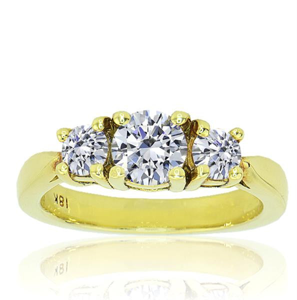 Three Stone Yellow Gold Diamond Engagement Ring - SEA Wave Diamonds