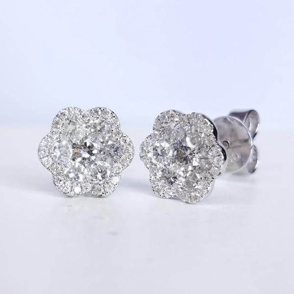 Floral-Inspired Diamond Studs - SEA Wave Diamonds