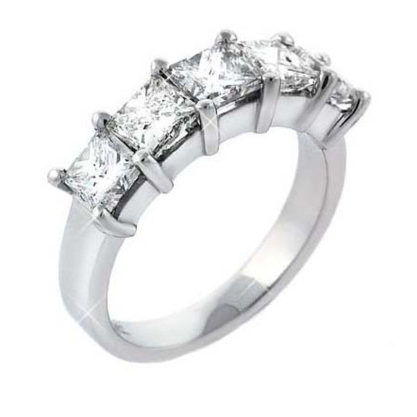 Princess Cut Five Stone Eternity Anniversary Ring - SEA Wave Diamonds