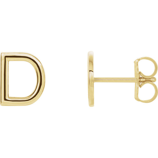 Single 14K Gold Initial Stud Earring