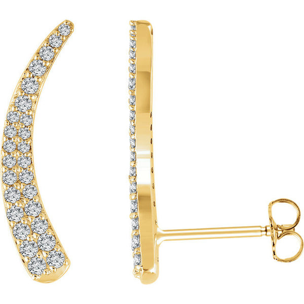 3.8 CTW Diamond Ear Climbers - SEA Wave Diamonds