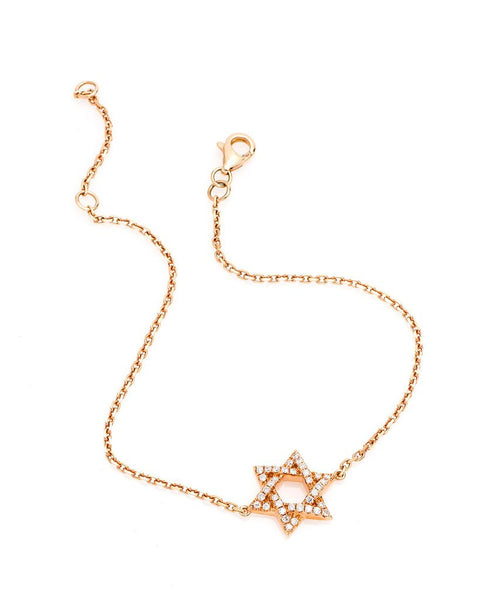 Star Of David Diamond Bracelet in 18K Rose Gold