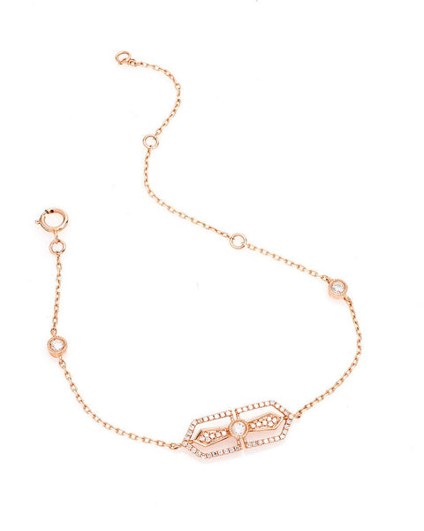 Horizontal Filigree Cross Diamond Chain Bracelet in 14K Rose Gold