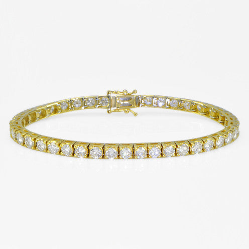 Tennis Bracelet in Yellow Gold 7.03cts - SEA Wave Diamonds
