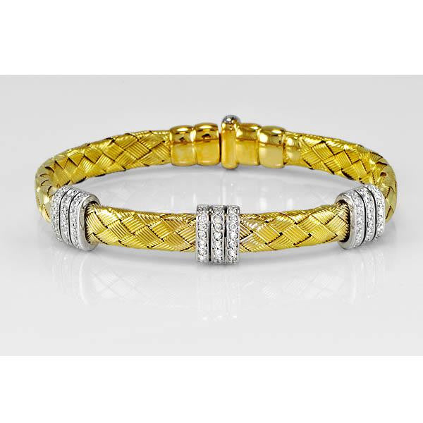 0.72 Carat Diamond Bangle in 14K Yellow and White Gold (0.72 ct. tw.) - SEA Wave Diamonds