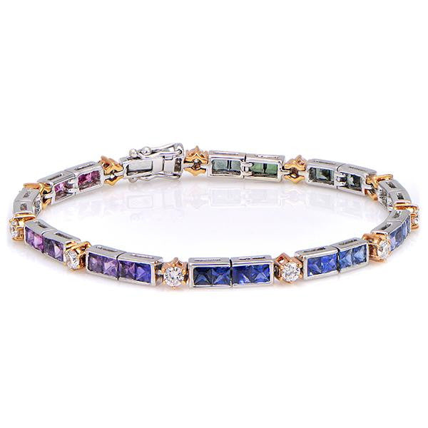 Diamond And Multicolor Sapphire Bracelet In 18k White Gold - SEA Wave Diamonds