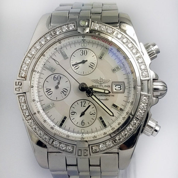 Breitling Chronomat Evolution MOP Dial Factory Diamond Bezel A13356 - SEA Wave Diamonds