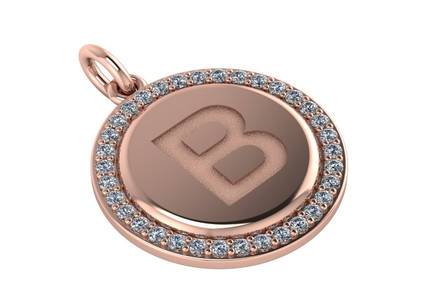 Initial Circle Diamond Round Pendant