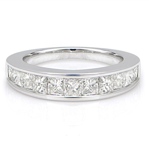 11 Stone Diamond Wedding Band In 14k White Gold - SEA Wave Diamonds