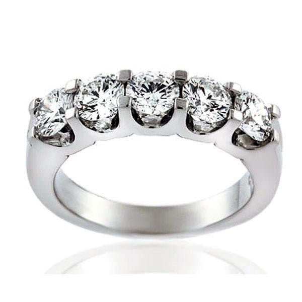 1.64ctw Five Stone Round Diamond Anniversary Band 