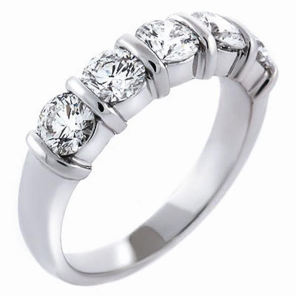 1.46ctw Five Stone Bar Set Anniversary Band in 14K White Gold (1.46 ct. tw.) - SEA Wave Diamonds
