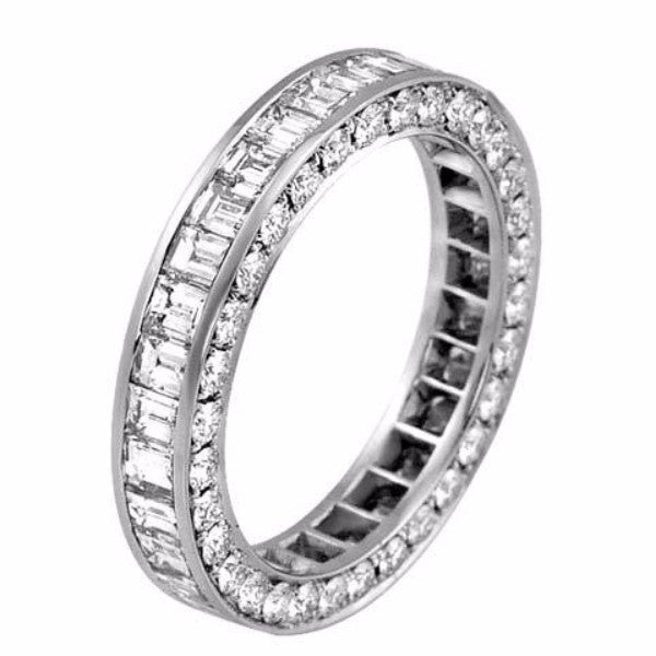 Three Sided Diamond Eternity Band 2.77cts - SEA Wave Diamonds