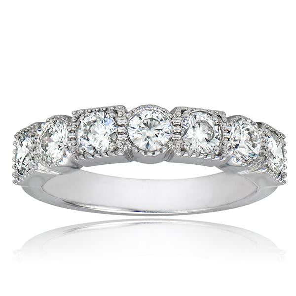 Bezel Set Stackable Diamond Ring With Milgraine - SEA Wave Diamonds