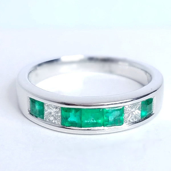 Diamond & Emerald Cut Wedding Band - SEA Wave Diamonds