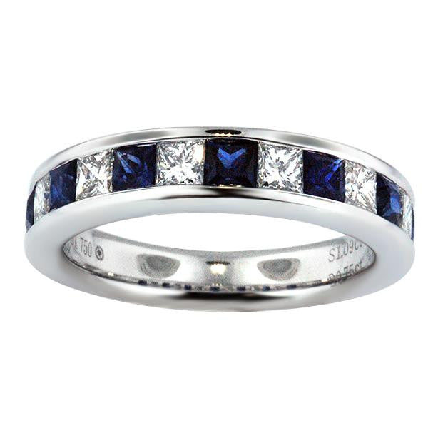 Diamond And Sapphire Princess Cut Band - SEA Wave Diamonds
