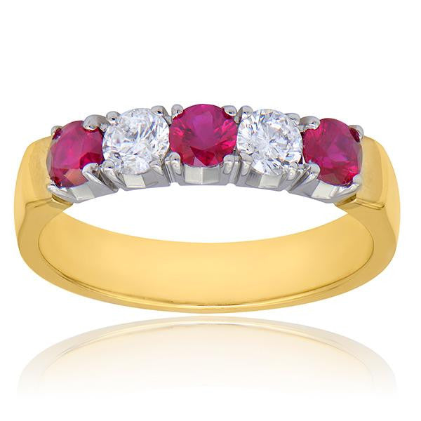 Ruby And Diamond Band In 18k White/Yellow Gold - SEA Wave Diamonds