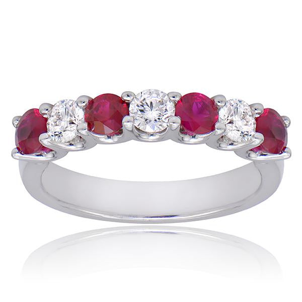 Ruby And Diamond Band In 18k White Gold - SEA Wave Diamonds