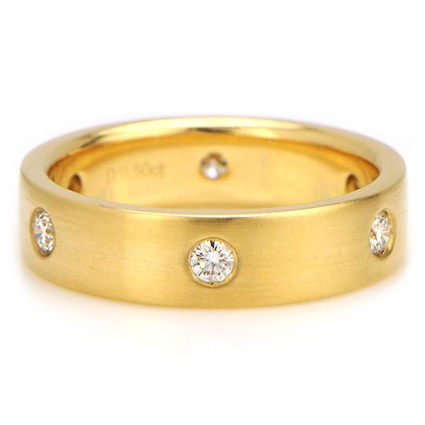 Diamond Mens Wedding Band In 18k Yellow Gold