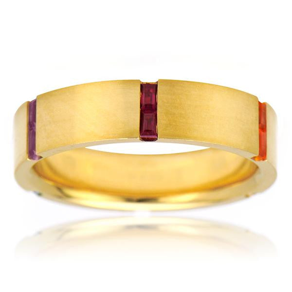 Multicolor Sapphire Wedding Band In 18k Yellow Gold - SEA Wave Diamonds