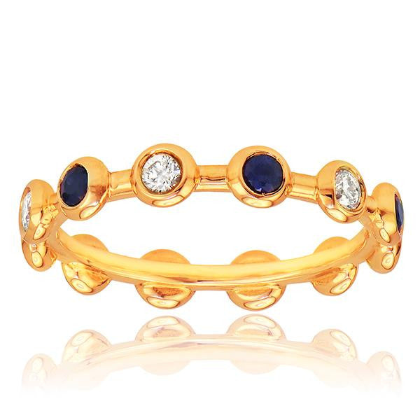 Diamond And Sapphire Stackable Band In 18k Rose Gold - SEA Wave Diamonds